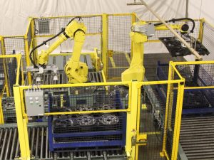 Fanuc robot integration: Robotic packaging. Automated dunnage handling. Example application: Fanuc robotic integration in a Kentucky wheel manufacturing plant.